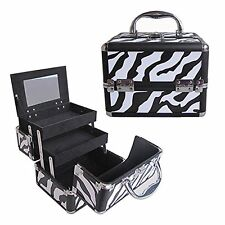 "8"" Pro Aluminum Makeup Train Case Jewelry Box Cosmetic Organizer Zebra New"