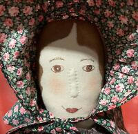 "Handmade Art OOAK Painted Cloth Sculpted Quilter Prairie 18.5"" Doll by Irene '94"