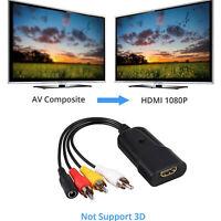 3RCA CVBS AV to HDMI Video Audio Converter Adapter For VHS VCR DVD Player Black