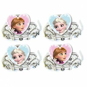 4 8 Disney's Frozen Snow Queen Birthday Child's Party Glitter Plastic Tiaras