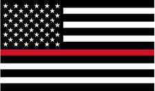 "1 - 5"" Thin RED Line Black White American Flag Decal Firefighter Sticker RH"