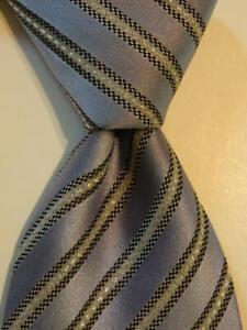 ERMENEGILDO ZEGNA Men's Silk Blend Necktie ITALY Designer STRIPED Blue/Gray GUC