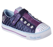 Skechers Girls Twinkle Toes 10689L/NVLB Shuffles-Sparkly Jewels Light Up Shoes
