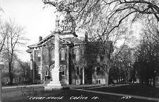 Cresco Iowa~Courthouse & Civil War Monument~Postcard RPPC 1940s