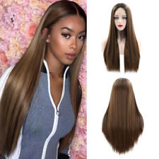 Ombre Brown Wig Long Straight Lace Front Wig Hair Full Wigs Lady Synthetic Party