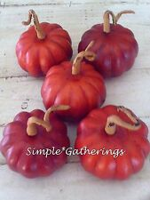 "5 Artificial Pumpkins ~ Halloween Harvest Fall Bowl Fillers 1.5"" x 2.25"" Average"