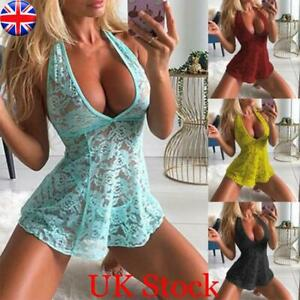 UK Womens Sexy Lace Halterneck Nightdress Lingerie Thong Babydoll Nightgown Pjs