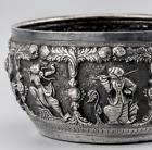 C1890 Antique BURMESE Silver REPOUSSÉ BOWL THABEIK 9.1 Troy Oz