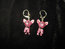 BETSEY JOHNSON PINK GLITTER CHIHUAHUA DANGLE EARRINGS