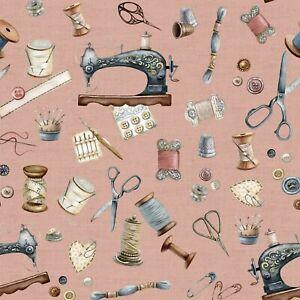 Dekostoff, Digitaldruck, Canvas, Verhees Textiles, Nähutensil.., Altrosa, 135cm