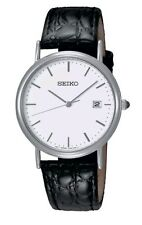 Seiko Men's Classic Black Leather Strap Watch - SKK693P1. New In Box. 079.