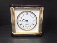 Seth Thomas Mahogany Wood and Brass Desk Mantle Mantel Clock Very Nice