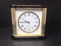 Seth Thomas Mahogany Wood and Brass Desk Mantle Mantel Clock Very Nice