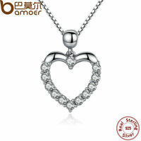 Bamoer Jewelry S925 Sterling Silver Heart Necklace Pendant With CZ For Women