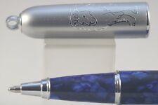 Fuliwen Dark Blue Marble Celluloid Ballpoint Pen with Keychain