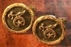 Estate Taxco Mexico Sterling Masonic Shriners Hammered Cufflinks Freemason
