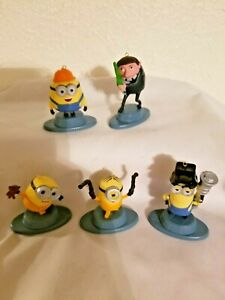 Disney Despicable Me Set of 5 Minions Movie Character Christmas Ornaments!!