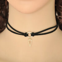 1x New Black Leather Wrap Gold Plated With Triangle Pendant Necklace For Women