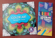 NEW - Color Art Adult Coloring Book Therapy for Stress with Color Pencils