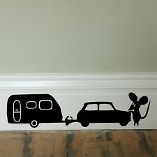 Mouse hole caravan_ Skirting Board_ Wall Art _Funny Decal Vinyl Sticker