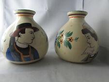 ancienne paire de vase fb  faience de quimper a decor de breton