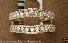 Solitaire Enhancer Round 0.50ct Diamonds Ring Guard Wrap 14k Yellow Gold Jacket