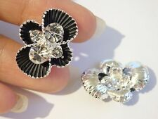 2 crystal buttons black flower button rhinestone diamante sewing dress making -1