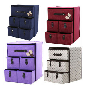 5 Drawer Foldable Canvas Storage Box Cube Drawer Collapsible Clothes Toys Basket