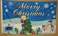 CHRISTMAS NORTHPOLE FLAG 3'x5' FLAG BANNER SANTA & TREE HOLIDAY FLAG SNOWMAN