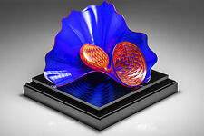 Dale Chihuly Hand Blown Lapis Pair Glass Sculpture Art Best Offer Sold Out 06