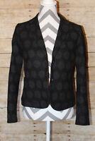 GAP Academy Blazer Size 2 Black Gray Polka Dot Double Button Career Jacket