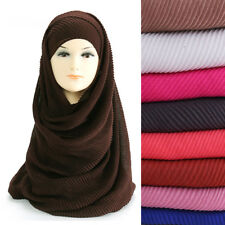Pleated Crinkle Plain Women Hijab Scarf Shawl Head Wrap Lightweight Large Size