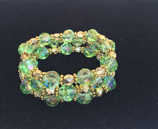 Handmade Gold and Green Crystal Stretchy Bracelet Set. One Size Fits Most.