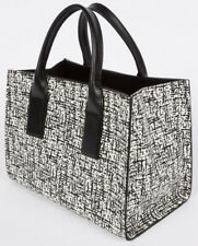 Paul Smith Women S Black White Etching Print Leather Tote Bag Retail
