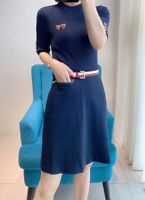 AUTH Ted Baker ELSBETH Knitted A-line Dress Navy, 0-5