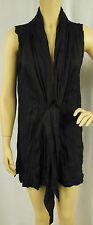 W.Lane Black Crinkled Sleeveless Tie Vest Gilet Cardigan Size S 8/10 BNWT # Z11