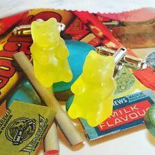 Handmade YELLOW GUMMY BEARS CUFFLINKS handmade SWEETS cool RETRO men SUIT lermon
