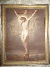 Ancien Tableau Chromo Religieux Christ sur sa Croix XIX eme