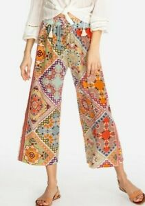 $250 JOHNNY WAS SZ M LUCERO CROPPED SILK PANTS ELASTIC WAIST PATCHWORK NWT