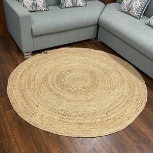 Jute Round Rug 100% Natural handmade reversible modern rustic look outdoor rugs