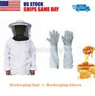 Protective Bee Keeping Jacket Veil Smock Hood Suits+Beekeeper Long Sleeve Gloves
