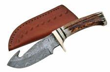 "Damascus Steel Gut Hook Skinning Hunter Knife   9"" Stag Handle + Leather Sheath"