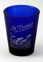 ST.THOMAS US VIRGIN ISLANDS COBALT BLUE FROSTED SHOT GLASS