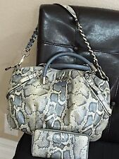 Coach Madison Embossed Python LARGE Sophia & Accordion Wallet Silver/Light Blue