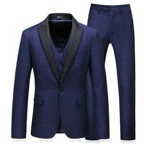 Mens Suit 3PCS Jacquard Slim Fit Tuxedo Wedding Dress One Button Blazer Jacket L