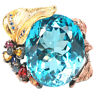 55.90 CT. GENUINE AAA LONDON BLUE TOPAZ SAPPHIRE & CZ STERLING 925 SILVER RING 8