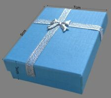 Gift Box Blue For Jewellery Gift Boxes Silver Ribbon Bow Foam Insert