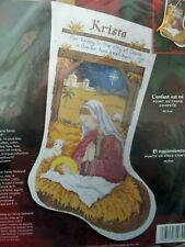 """HE IS BORN~ Bucilla Counted Cross Stitch Kit ~ 18"""" Stocking"""