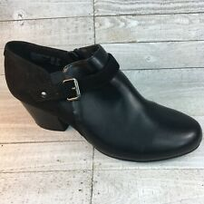 American Eagle Woman's 10 W Boot Shoes Black Leather Suede Look Zipper Buckle