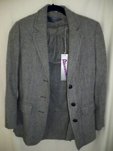 Vintage Alexander  Women's Skirt Suit Blue White Plaid Wool Size 12 with Tags